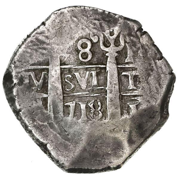Lima, Peru, cob 8 reales, 1718M.