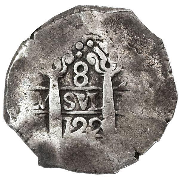Lima, Peru, cob 8 reales, 1722M, NGC F 12.