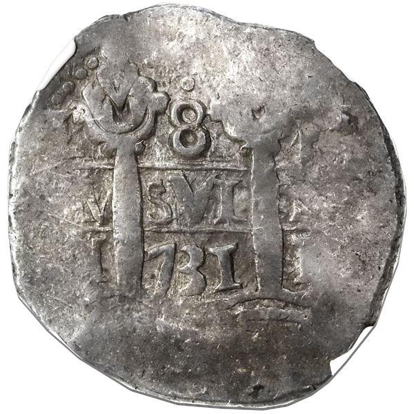 Lima, Peru, cob 8 reales, 1731N, NGC XF 45.