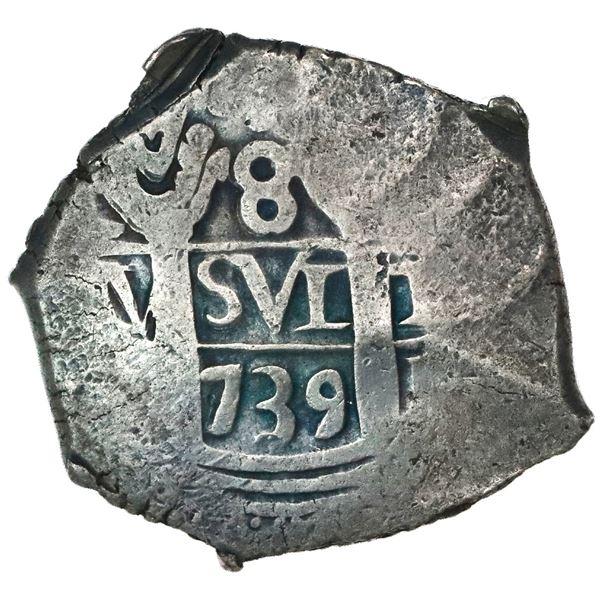 Lima, Peru, cob 8 reales, 1739(N or V).