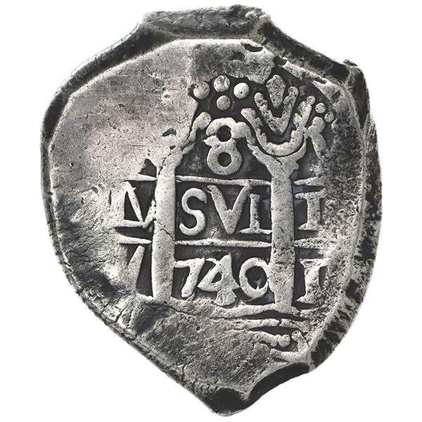 Lima, Peru, cob 8 reales, 1740/39V, rare.