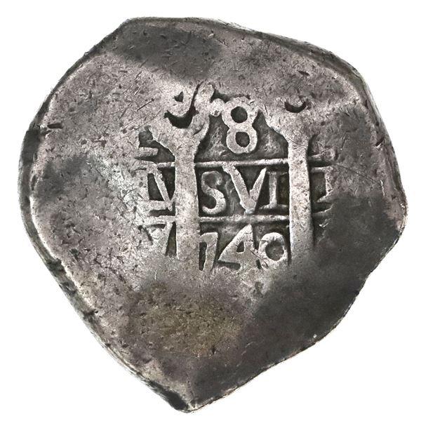Lima, Peru, cob 8 reales, 1740V, Calbeto Plate.