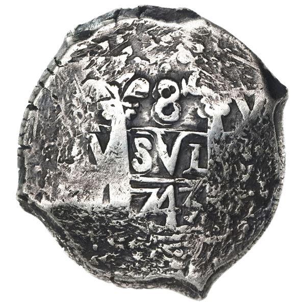 Lima, Peru, cob 8 reales, 1743V, rare.