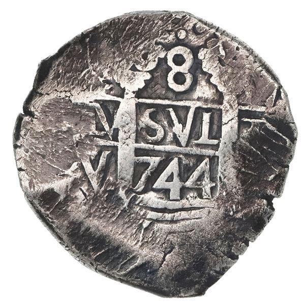 Lima, Peru, cob 8 reales, 1744V, rare.