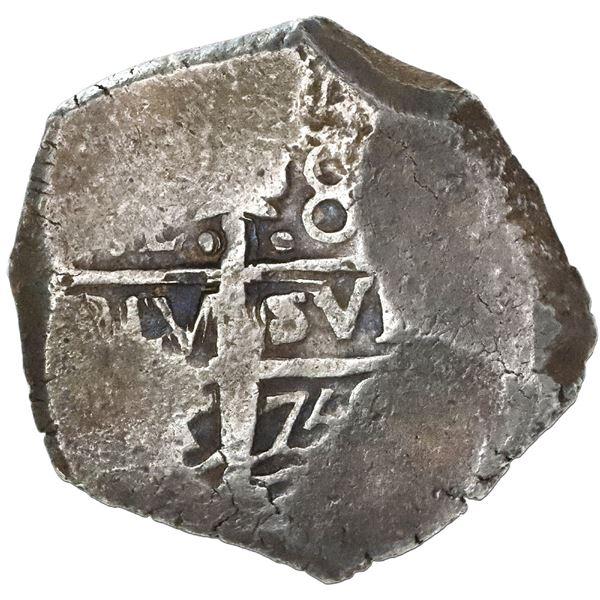 Lima, Peru, cob 8 reales, 1750R, very rare.