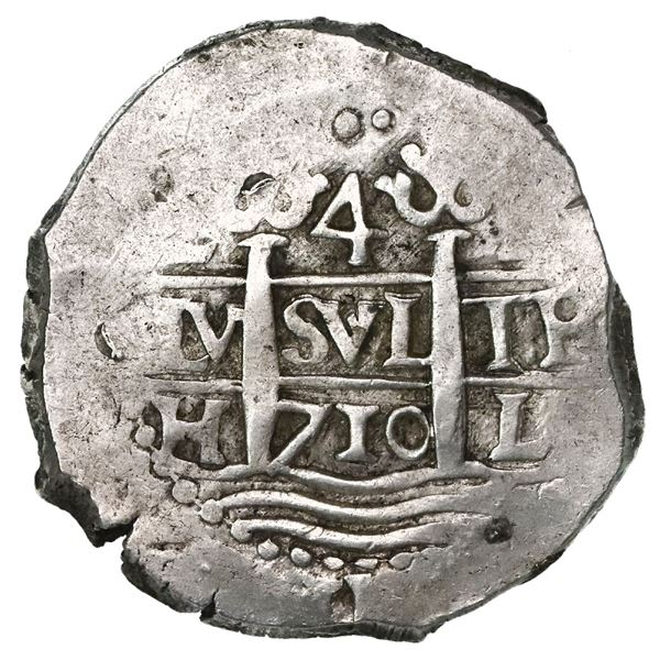 Lima, Peru, cob 4 reales, 1710H, rare.