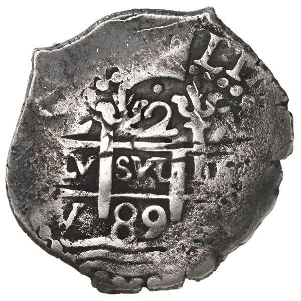 Lima, Peru, cob 2 reales, 1689V.