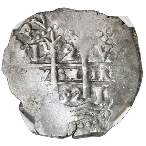 Lima, Peru, cob 2 reales, 1692V, NGC VF 35.