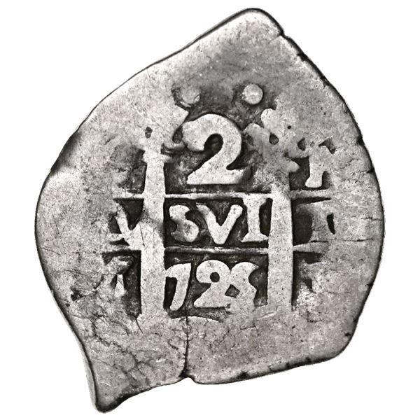 Lima, Peru, cob 2 reales, 1725M, Louis I, very rare.
