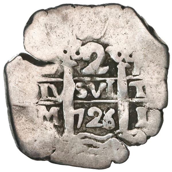 Lima, Peru, cob 2 reales, 1726/5M, unique overdate.