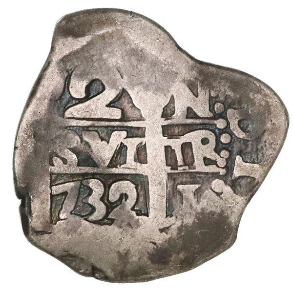 Lima, Peru, cob 2 reales, 1732/1N, very rare.