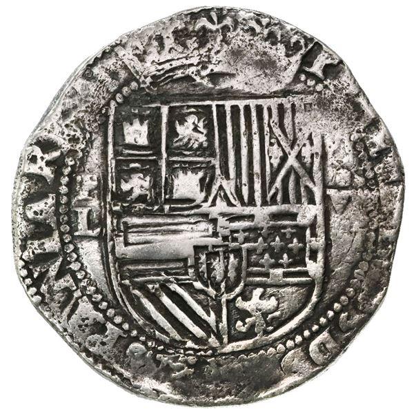 Potosi, Bolivia, cob 8 reales, Philip II, assayer L (1st period), very rare, ex-Witte Museum.