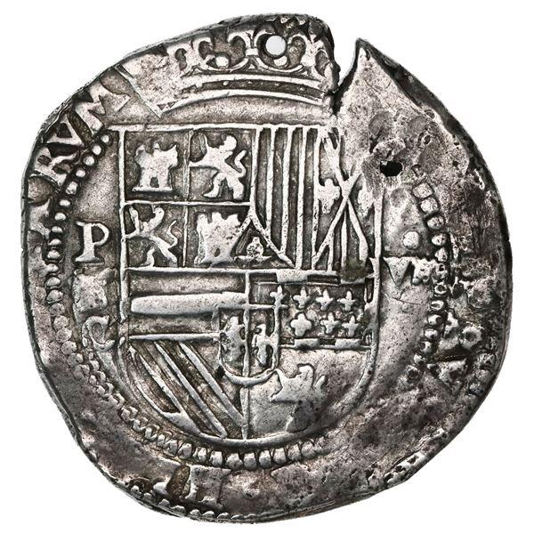 Potosi, Bolivia, cob 8 reales, Philip II, assayer C below erasure, very rare, ex-Karon.