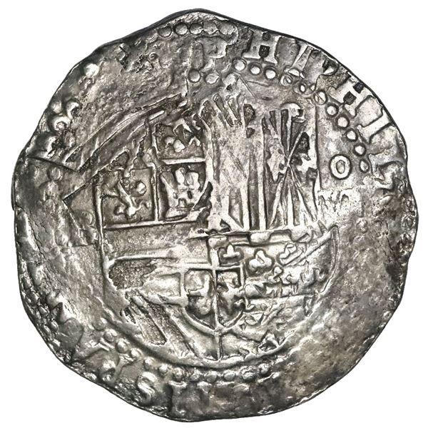Potosi, Bolivia, cob 8 reales, Philip II, assayer B (4th period), NGC AU details / rev spot removed,