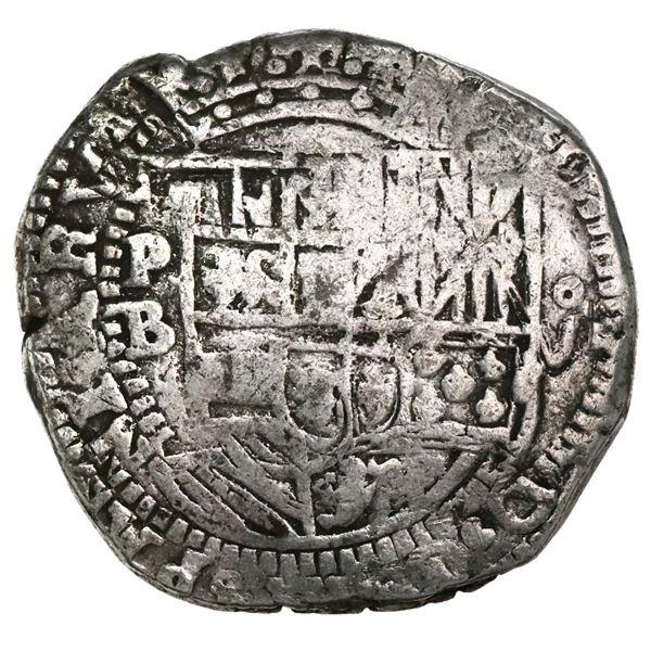 Potosi, Bolivia, cob 8 reales, Philip II, assayer B (5th period).
