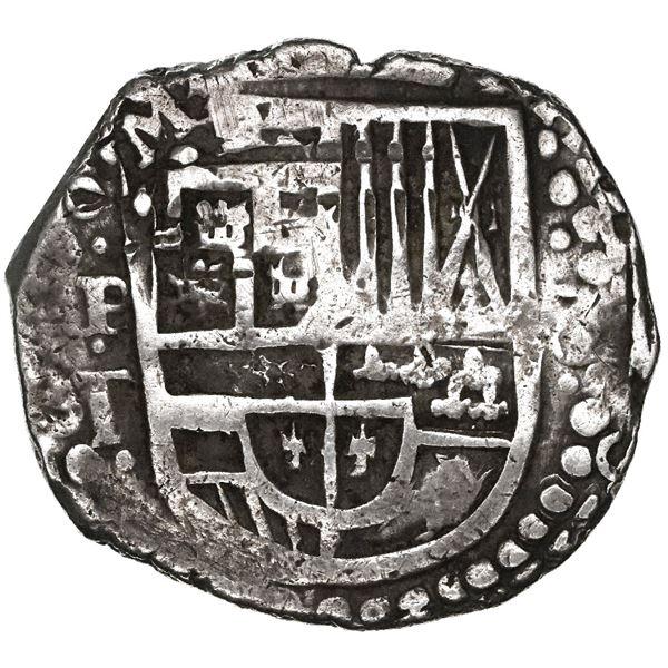 Potosi, Bolivia, cob 8 reales, (16)29T, denomination 8, heavy-dot borders.
