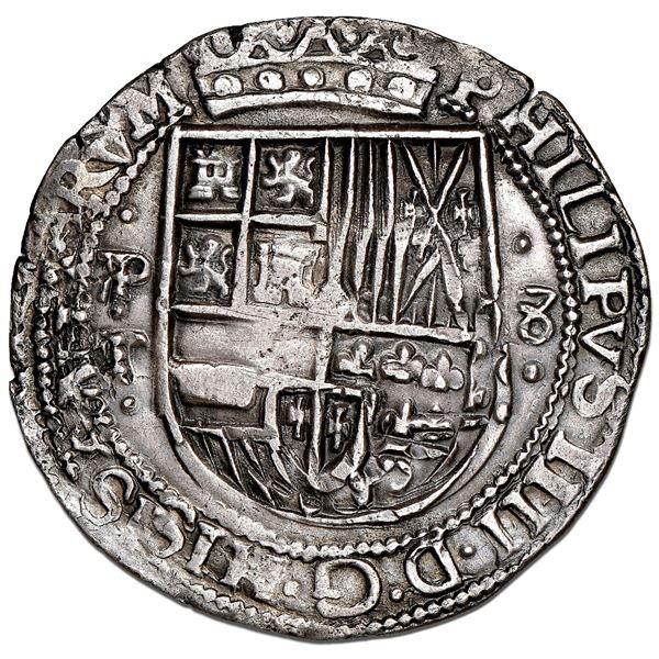 Potosi, Bolivia, cob 8 reales Royal (galano), 1630T, rare, NGC AU details / plugged, Murray Plate.