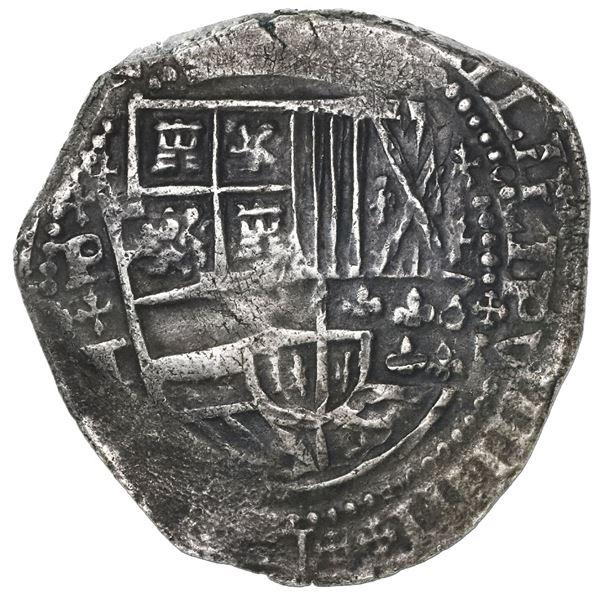 Potosi, Bolivia, cob 8 reales, Philip IV, assayer T, crosslet-cross ornaments (1630-1).