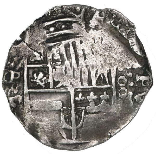 Potosi, Bolivia, cob 8 reales, 1644TR, denomination as vertical oo, very rare.