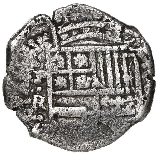 Potosi, Bolivia, cob 8 reales, Philip IV, assayer R (Ramirez, 1646-8) over P (Peralta, 1646-7), extr
