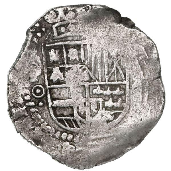 Potosi, Bolivia, cob 8 reales, Philip IV, assayer O (1649-51), no countermark (rare).