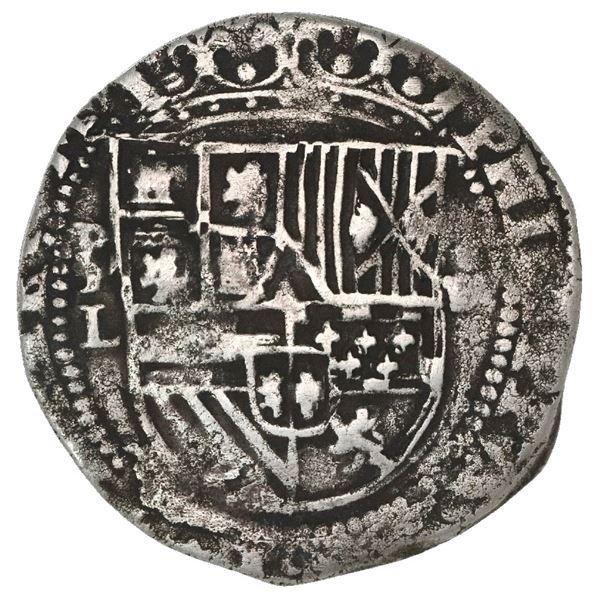 Potosi, Bolivia, cob 4 reales, Philip II, assayer L (1st period) to left.
