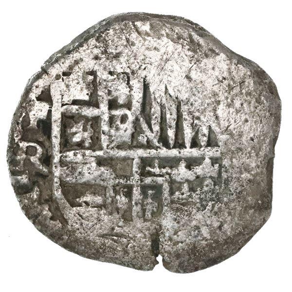 Potosi, Bolivia, cob 4 reales, Philip IV, assayer R (Ramirez, 1646-8), extremely rare.