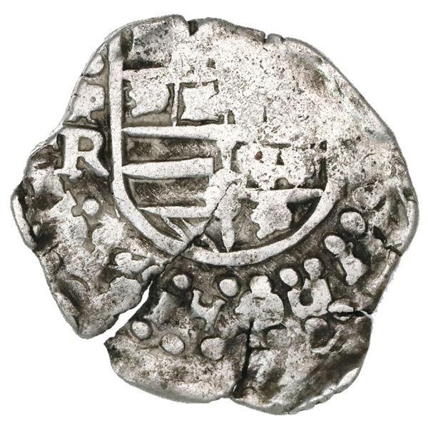 Potosi, Bolivia, cob 2 reales, Philip IV, assayer R (Ramirez, 1646-8), extremely rare.
