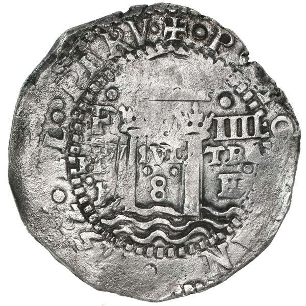 Potosi, Bolivia, cob 8 reales, 1652E, Transitional Type IV/A.