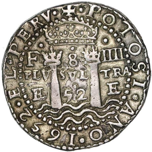 Potosi, Bolivia, cob 8 reales Royal (galano), 1652E Transitional Type V/A, very rare.