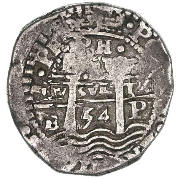 Potosi, Bolivia, cob 8 reales, 1654E, dot-PH-dot at top, pomegranate above cross.