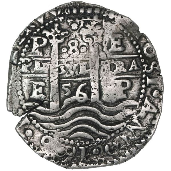 Potosi, Bolivia, cob 8 reales, 1656E, no PH at top, denomination above cross.