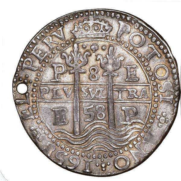 Potosi, Bolivia, cob 8 reales Royal (galano), 1658E, dot-pomegranate-dot at top on both sides, NGC A