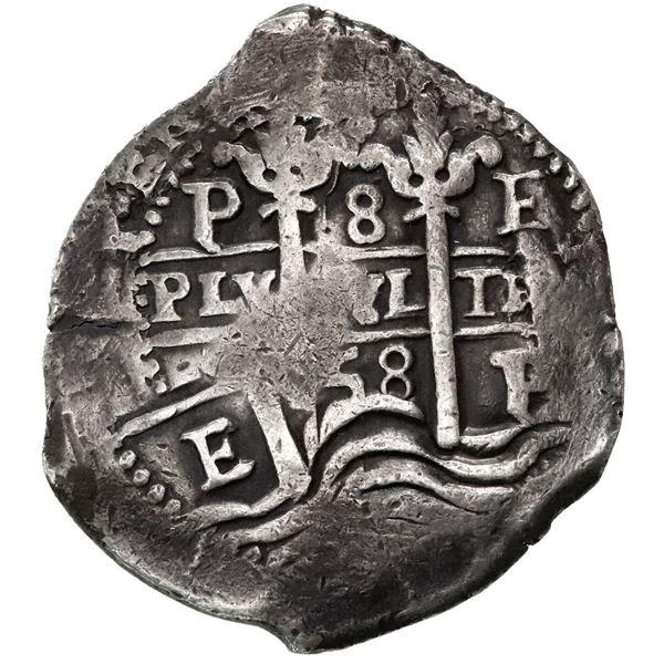 Potosi, Bolivia, cob 8 reales, 1658E, pomegranate above cross, quadrants of cross transposed (very r