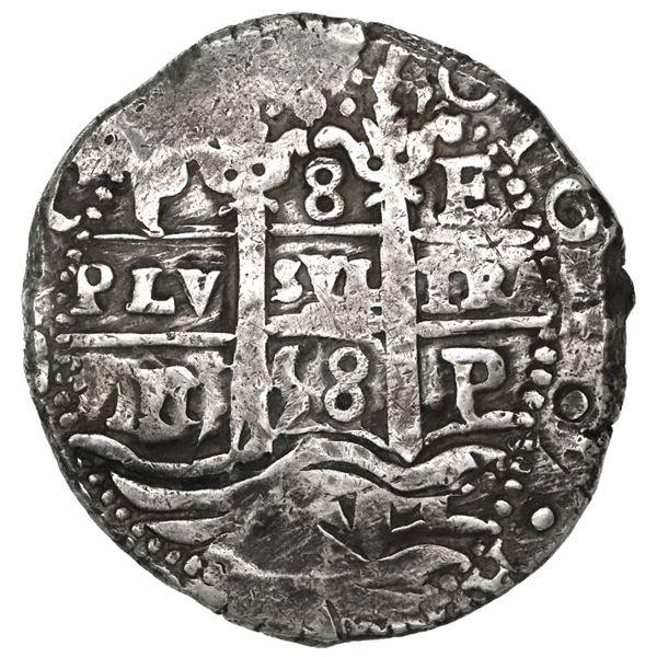 Potosi, Bolivia, cob 8 reales, 1658E, denomination 8 above cross (rare).