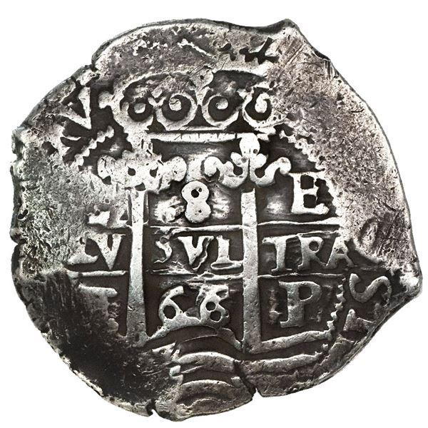 Potosi, Bolivia, cob 8 reales, 1666E, date as 66 between pillars and 666 below cross.