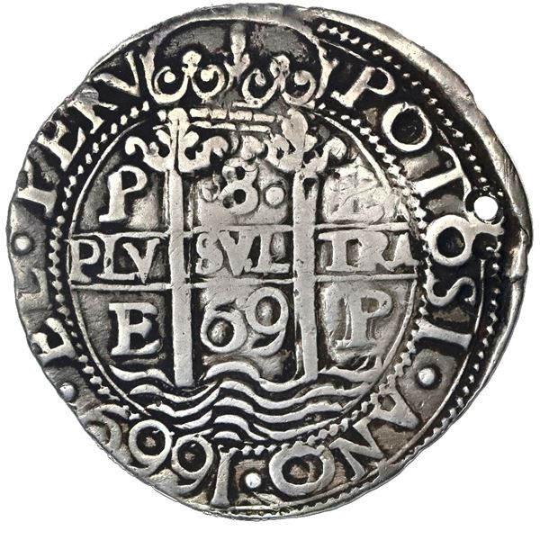 Potosi, Bolivia, cob 8 reales Royal (galano), 1669/8E, rare, NGC VF details / holed.