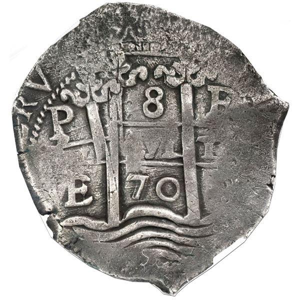 Potosi, Bolivia, cob 8 reales, 1670E, NGC VF 35.