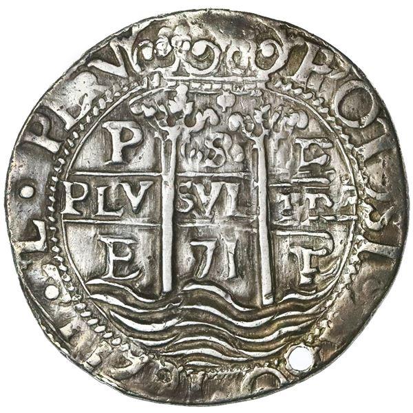 Potosi, Bolivia, cob 8 reales Royal (galano), 1671E, NGC XF details / holed.