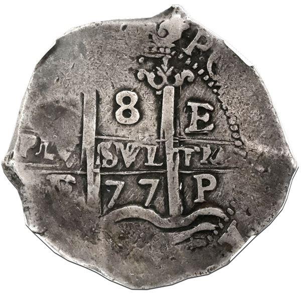 Potosi, Bolivia, cob 8 reales, 1677E, NGC VF 20.