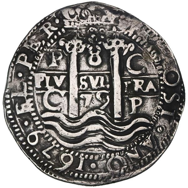 Potosi, Bolivia, cob 8 reales Royal (galano), 1679C, rare, NGC VF details / plugged, finest and only