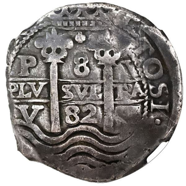 Potosi, Bolivia, cob 8 reales, 1682V, NGC VF 30.