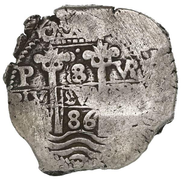 Potosi, Bolivia, cob 8 reales, 1686VR.