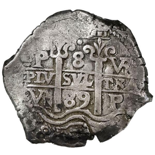 Potosi, Bolivia, cob 8 reales, 1689VR, NGC VF 35.