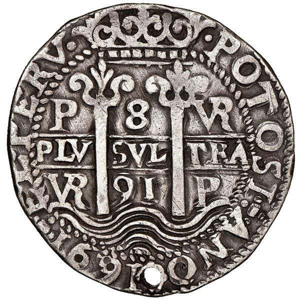 Potosi, Bolivia, cob 8 reales Royal (galano), 1691VR, rare, NGC VF details / holed.