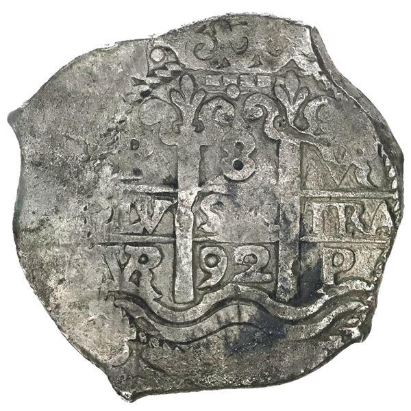Potosi, Bolivia, cob 8 reales, 1692VR, ex-Association (1707).