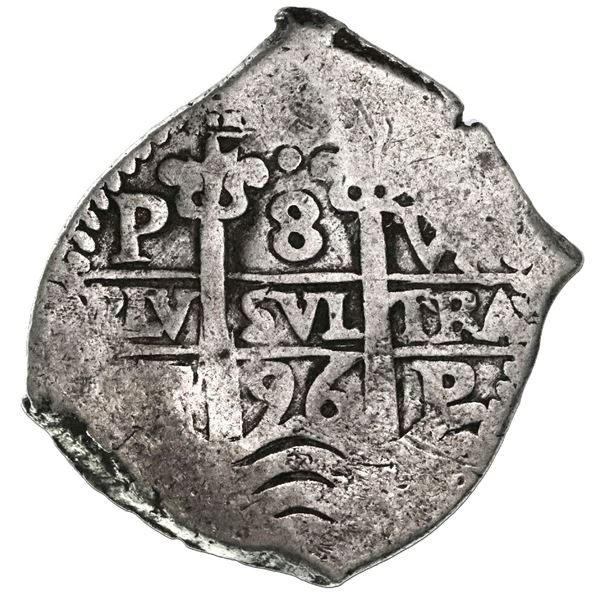 Potosi, Bolivia, cob 8 reales, 1696VR.