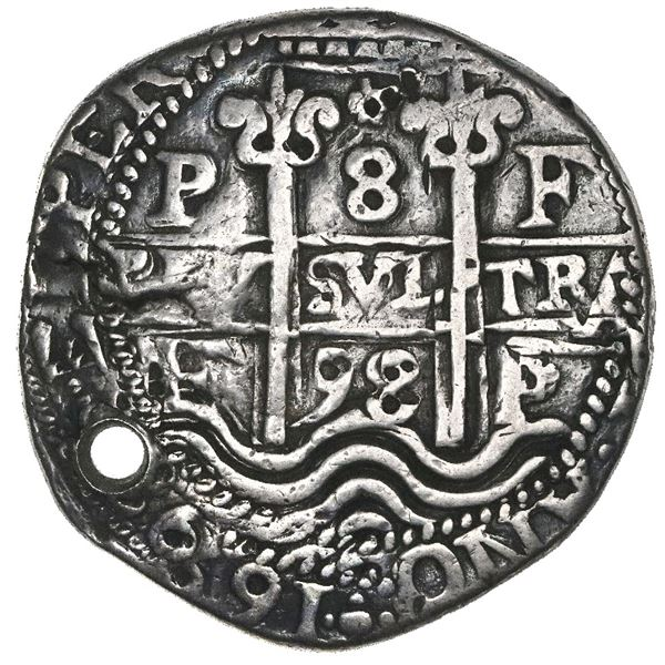 Potosi, Bolivia, cob 8 reales Royal (galano), 1698F, NGC VF details / holed, rev damage.