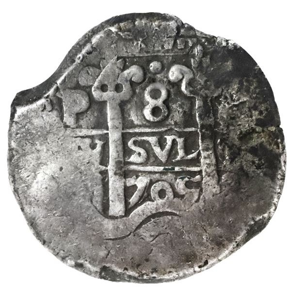 Potosi, Bolivia, cob 8 reales, 1705Y, NGC VF 20, finest and only example in NGC census.