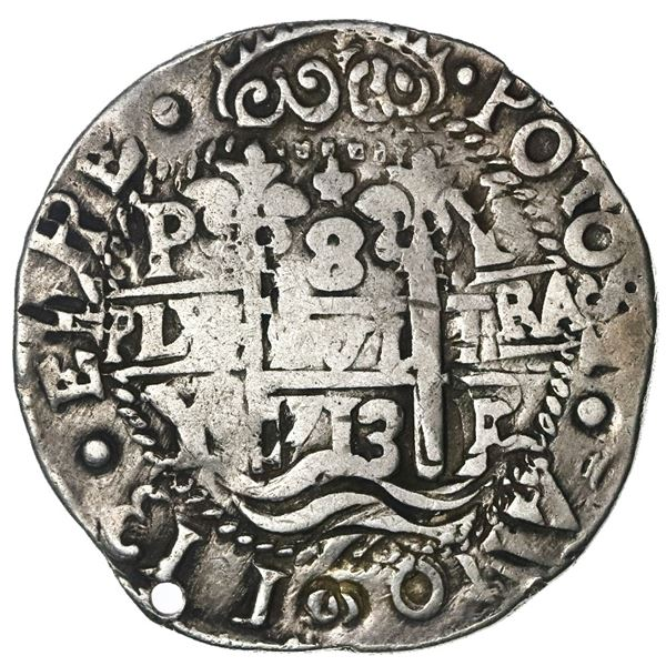 Potosi, Bolivia, cob 8 reales Royal (galano), 1713Y, error without 7 in legend date, very rare, NGC